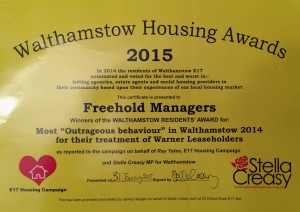 Walthamstow Housing Award to Freehold Managers
